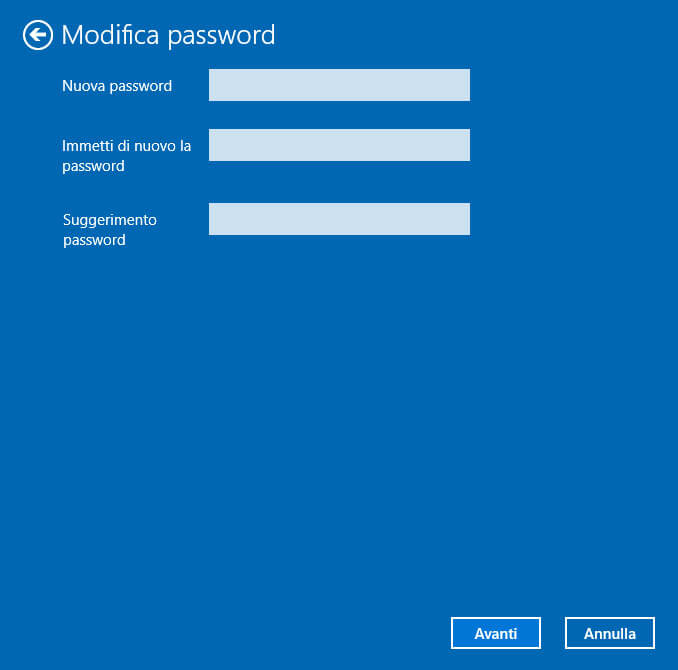 Windows 10 Nuova Password